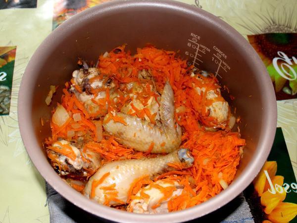 Булгур с курицей и овощами в мультиварке