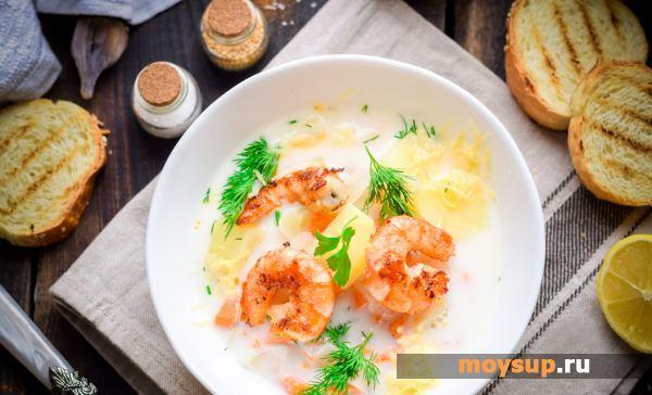 Сырный суп с креветками и крабовыми палочками