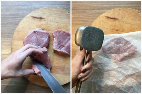 Классический венский шницель из свинины на сковороде