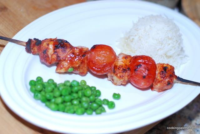 Шашлык из курицы в томатном маринаде