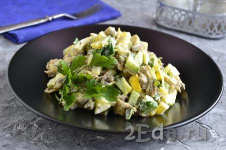 Салат с жареными вешенками