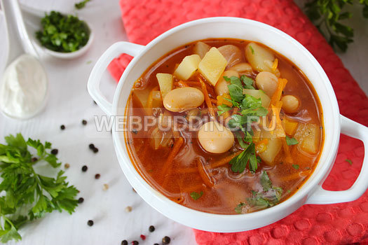 Фасолевый суп из красной консервированной фасоли